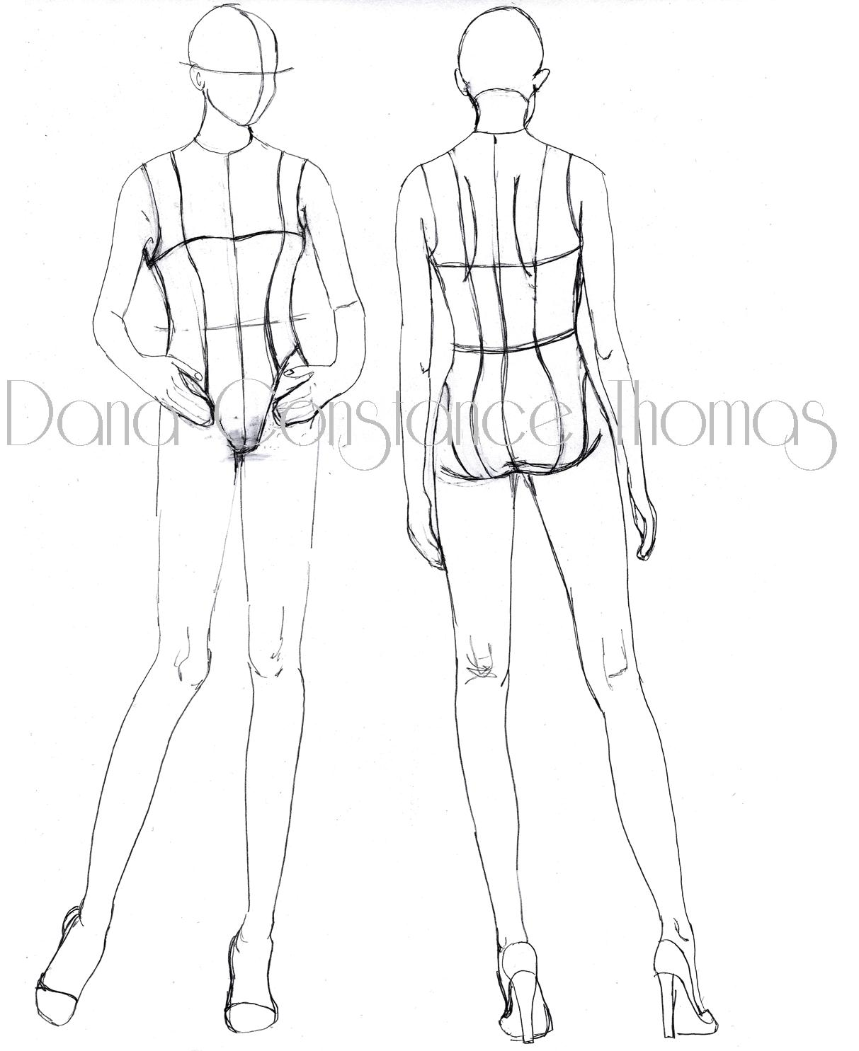 Fashion Illustration Templates Front And Back View